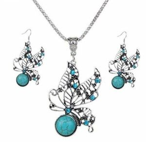 🦋gorgeous vintage turquoise silver butterfly set